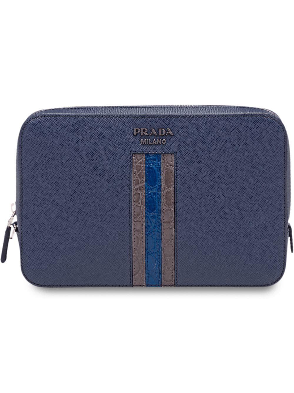 4253e9416826 PRADA PRADA SAFFIANO LEATHER MEN'S BAG - BLUE. #prada #bags #leather #pouch  #accessories