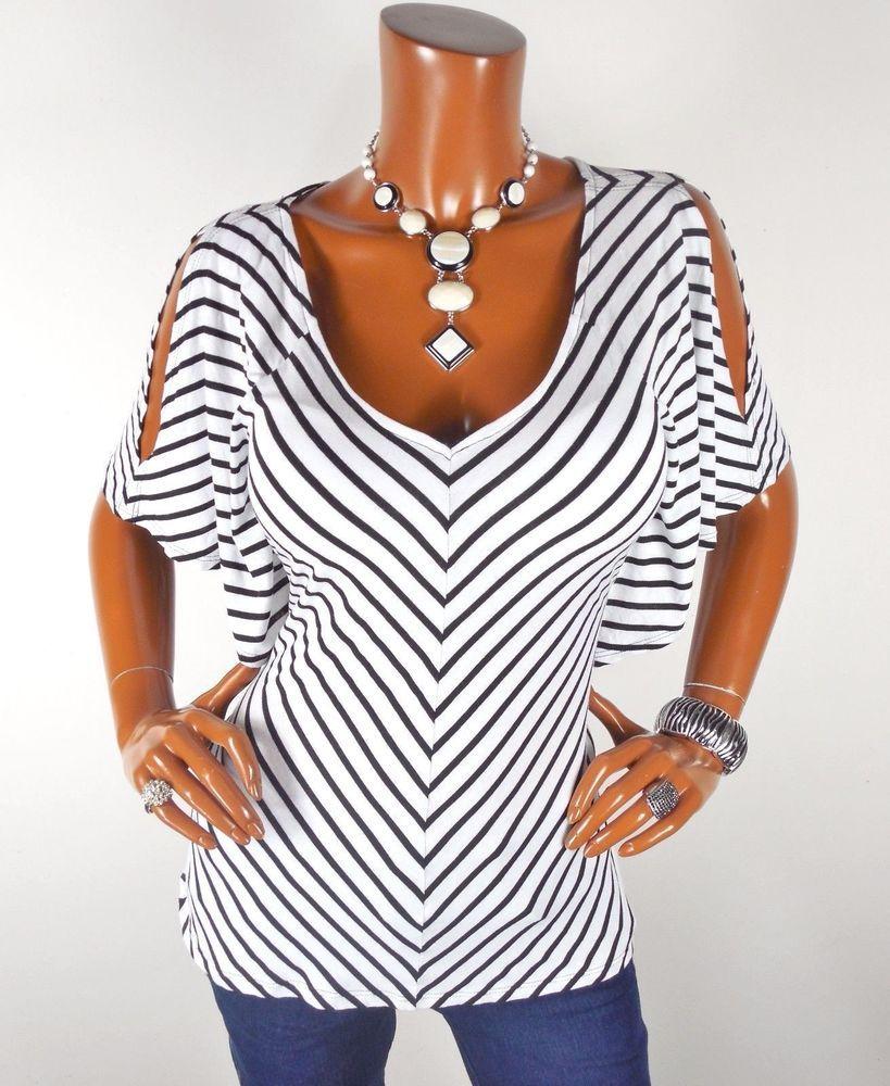 ccf41250210d8 WHITE HOUSE BLACK MARKET Womens Top M SEXY Cold Shoulder Blouse Casual  Shirt…