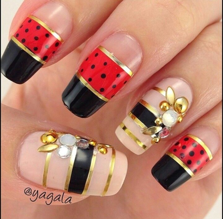 Nude, black, red, gold, three colors, tape, dots, rhinestones, simple, accent nails