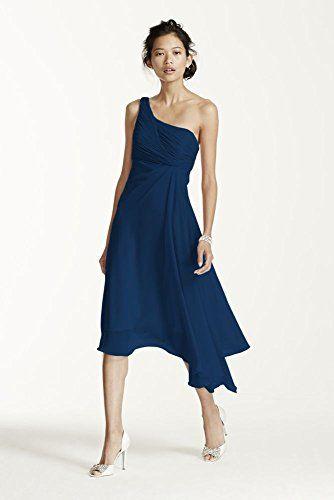94e62eaa5f5 Short One Shoulder Crinkle Chiffon Bridesmaid Dress Style F15608
