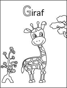 kleurplaat g giraf character fictional characters