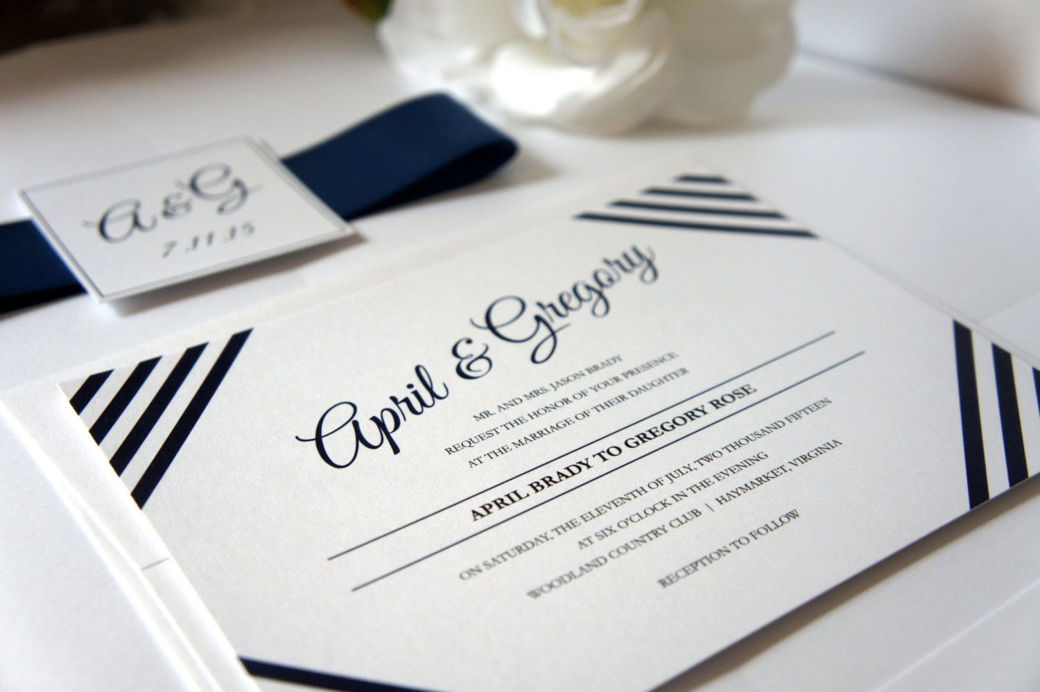 Blue Striped Wedding Invitation Modern Wedding Invitation Belly