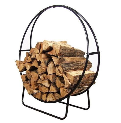 Firewood Log Holder Round Black Steel Wood Rack Hoop 3 Sizes Campfire Fire New Wood Rack Firewood Holder Firewood Logs