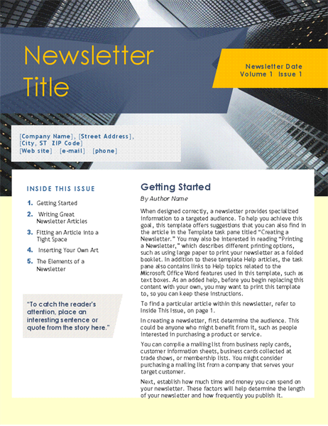 Business Newsletter 4 Pages