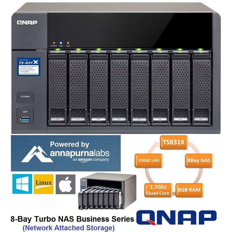 QNAP TS831X 8Bay NAS Enclosure High Performance , 2x10GbE