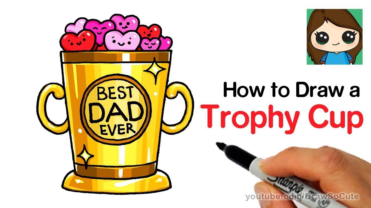 How To Draw A Trophy Cup Easy Father S Day Youtube Dibujos