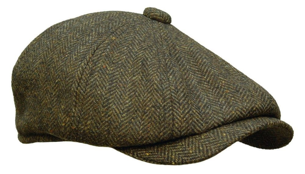 049553a6e5 Details about ROOSTER WOOL TWEED HERRINGBONE NEWSBOY GATSBY CAP GOLF ...