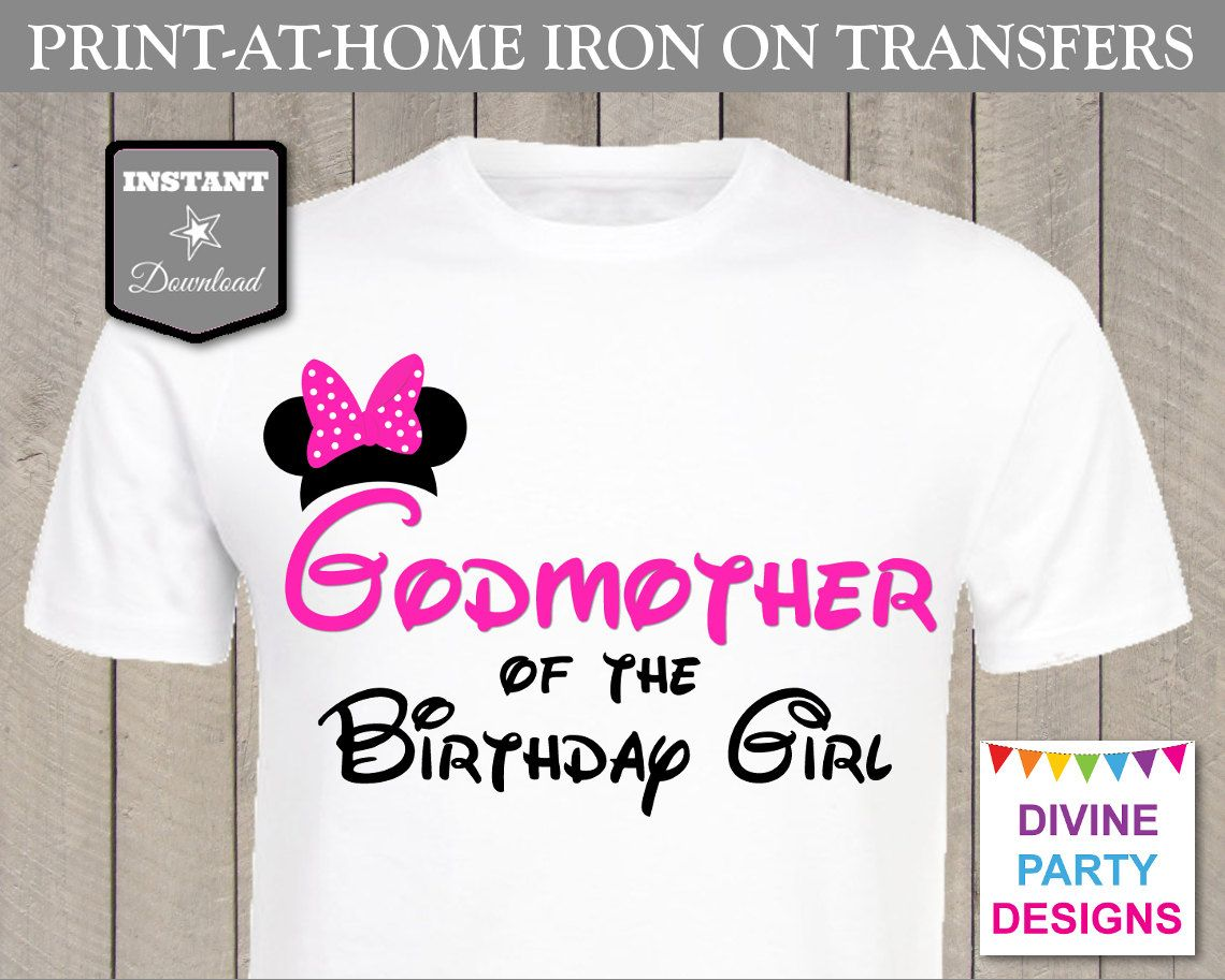 INSTANT DOWNLOAD Print at Home Pink Mouse Godmother of the Birthday ...