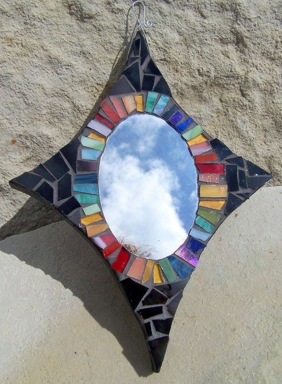 Starburst Multicolored Rainbow Glass Mosaic Mirror