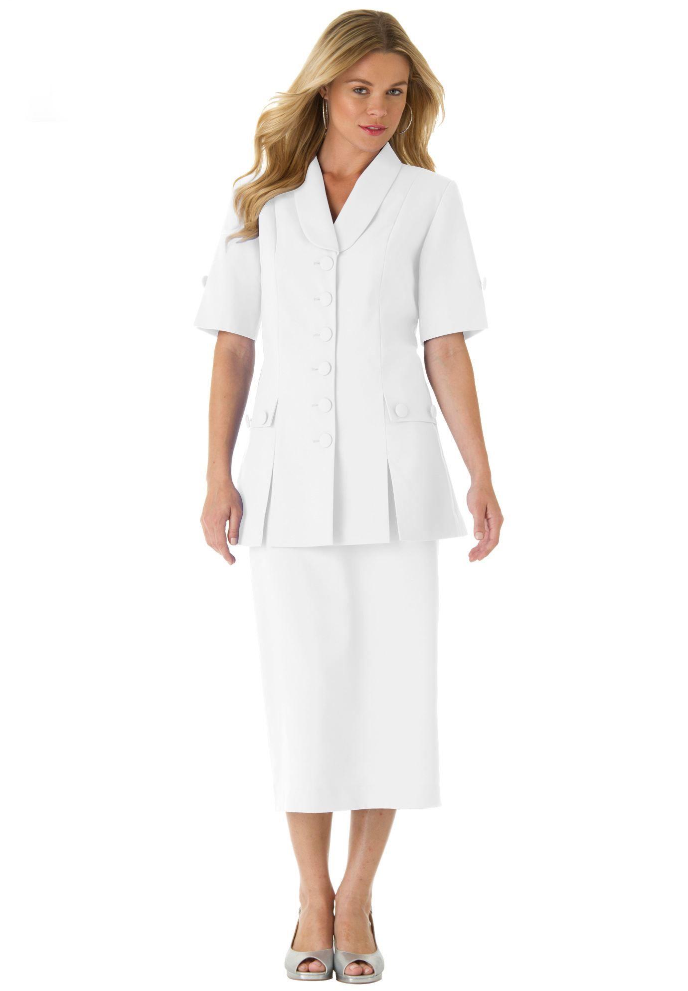 10-Button Skirt Suit | Plus Size Dresses and Suits | Roamans ...