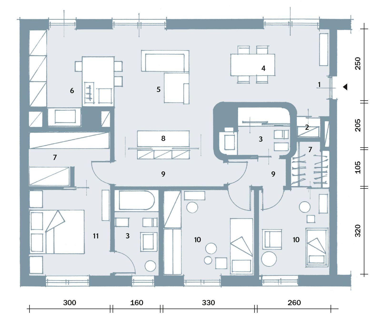 Suddivisioni ottimizzate per la casa di meno di 100 mq for 3 camere da letto 2 bagni piani ranch