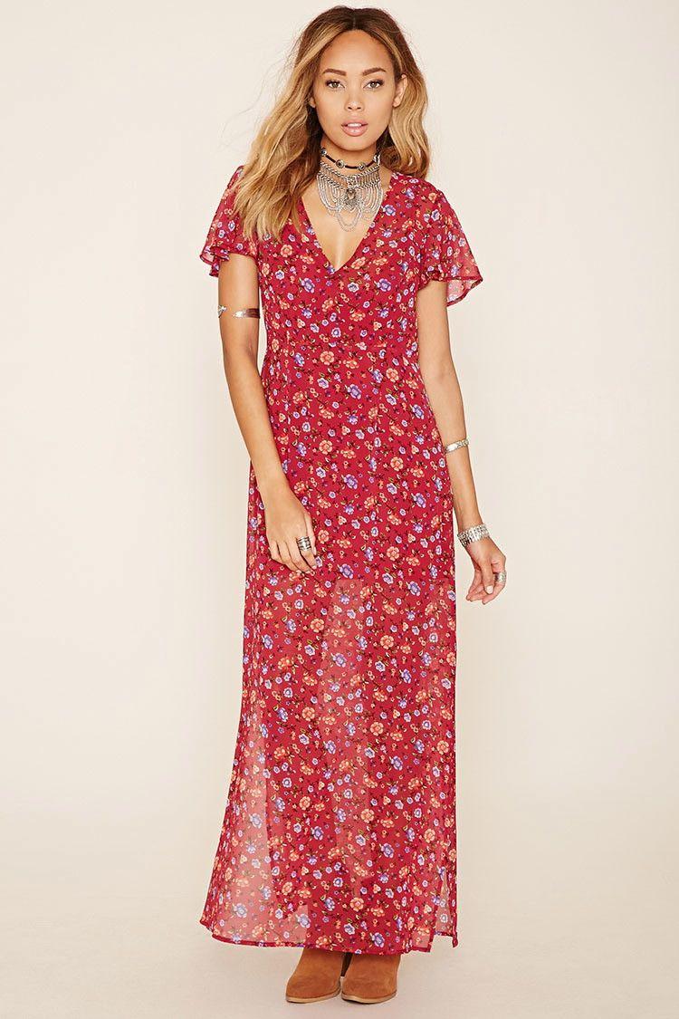 c53e2735693 A woven chiffon maxi dress featuring an M-slit