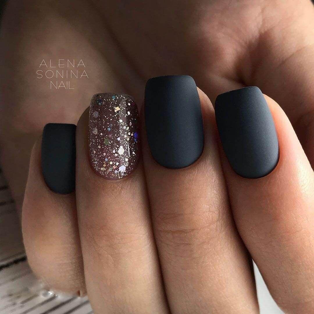 Nail Art 4371 In 2020 Plain Nails Black Nail Designs Matte Nails Design