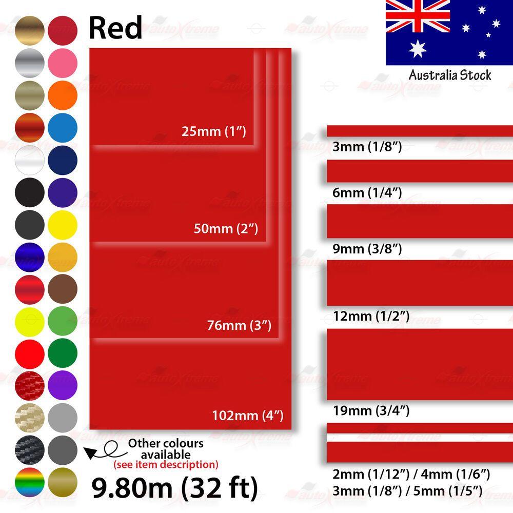 "12mm 1//2/"" PinStriping Pin Stripe 2mm 4mm Car Tape Decal Vinyl Sticker RED CHROME"