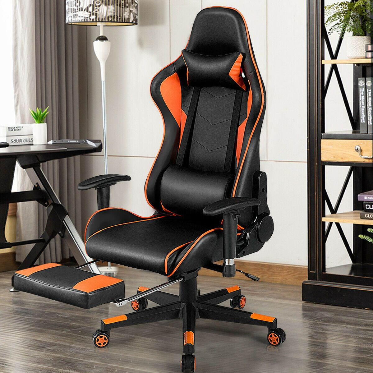 Reclining Racing Chair With Lumbar Support Footrest In 2020 Racing Chair Gaming Chair Chair