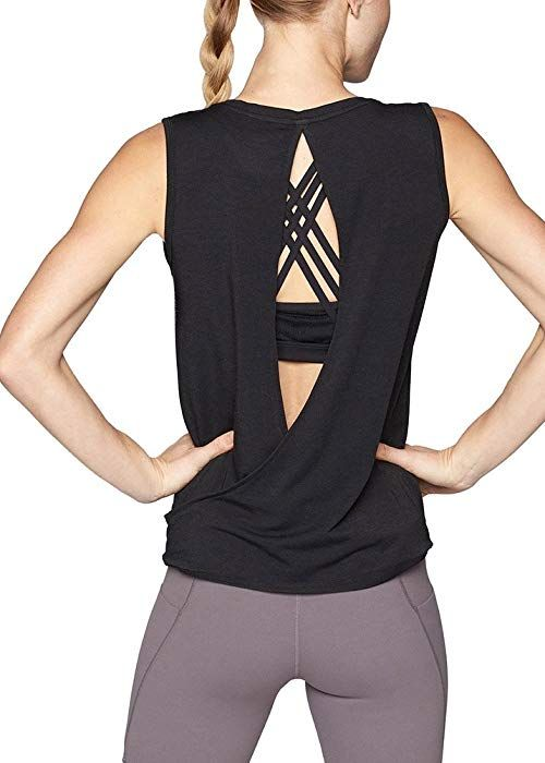 b79771f3a89139 Mippo Womens Sexy Workout Tops Backless Muscle Shirt Stretchy Open Back  Yoga Tank Tops Twist Back Tank Sleeveless Sport Clothing Exercise Gym Plain  Tee ...
