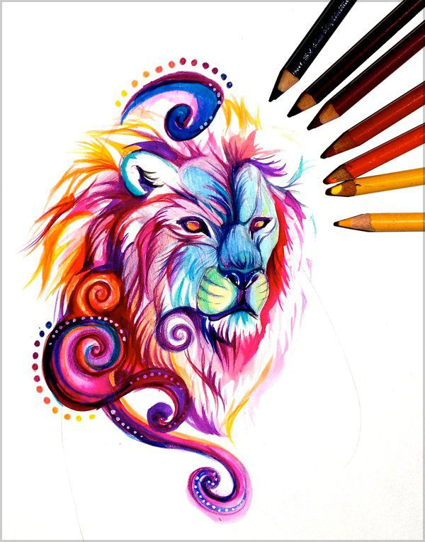 20 Amazing Colour Pencil Drawings By Katy Lipscomb Colorful Lion Colorful Lion Tattoo Lion Drawing