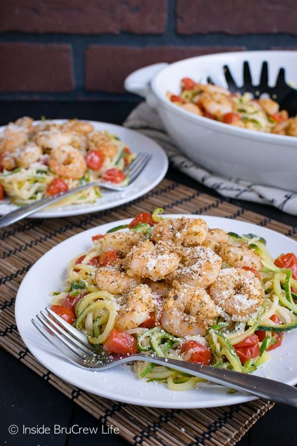 Garlic Shrimp Zucchini Noodles  fresh zucchini noodles tomatoes and baked shrimp make this lean and green meal perfect for eating healthyParmesan Garlic Shrimp Zucchini N...