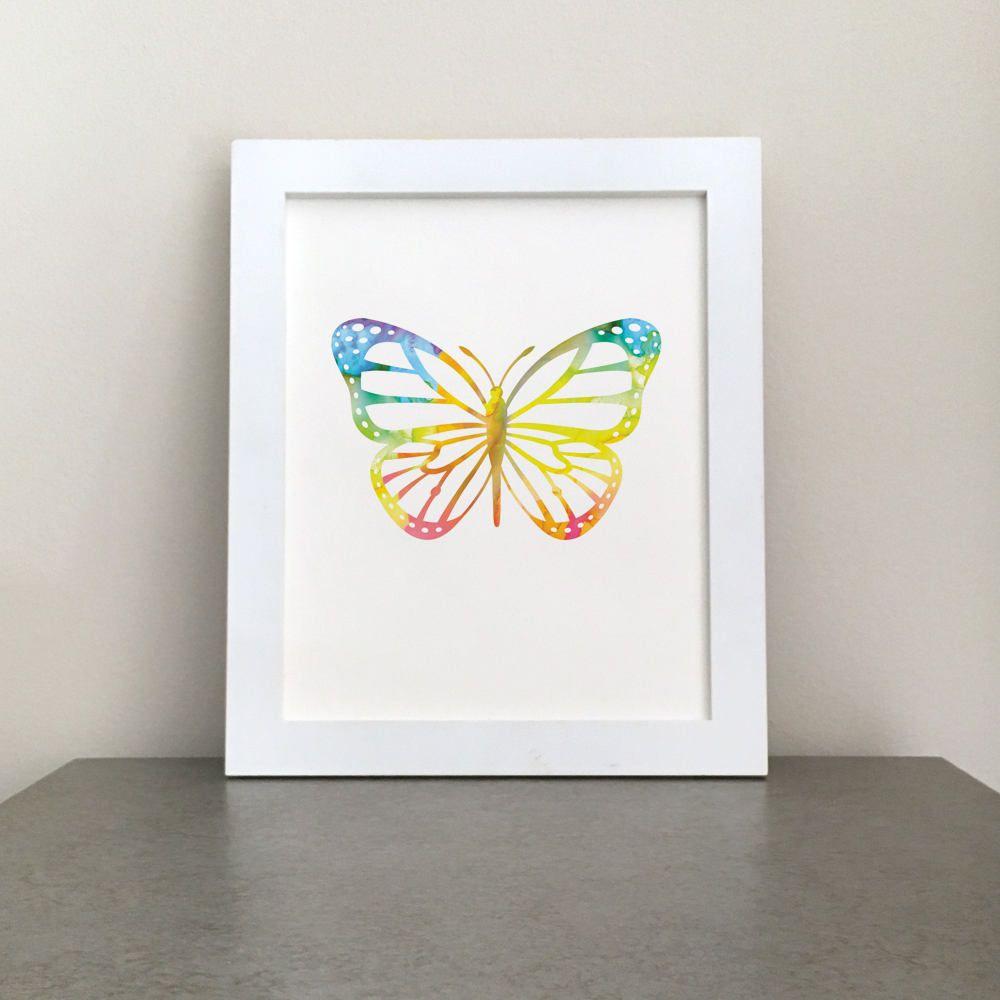 Printable art watercolor butterfly wall art nursery prin new