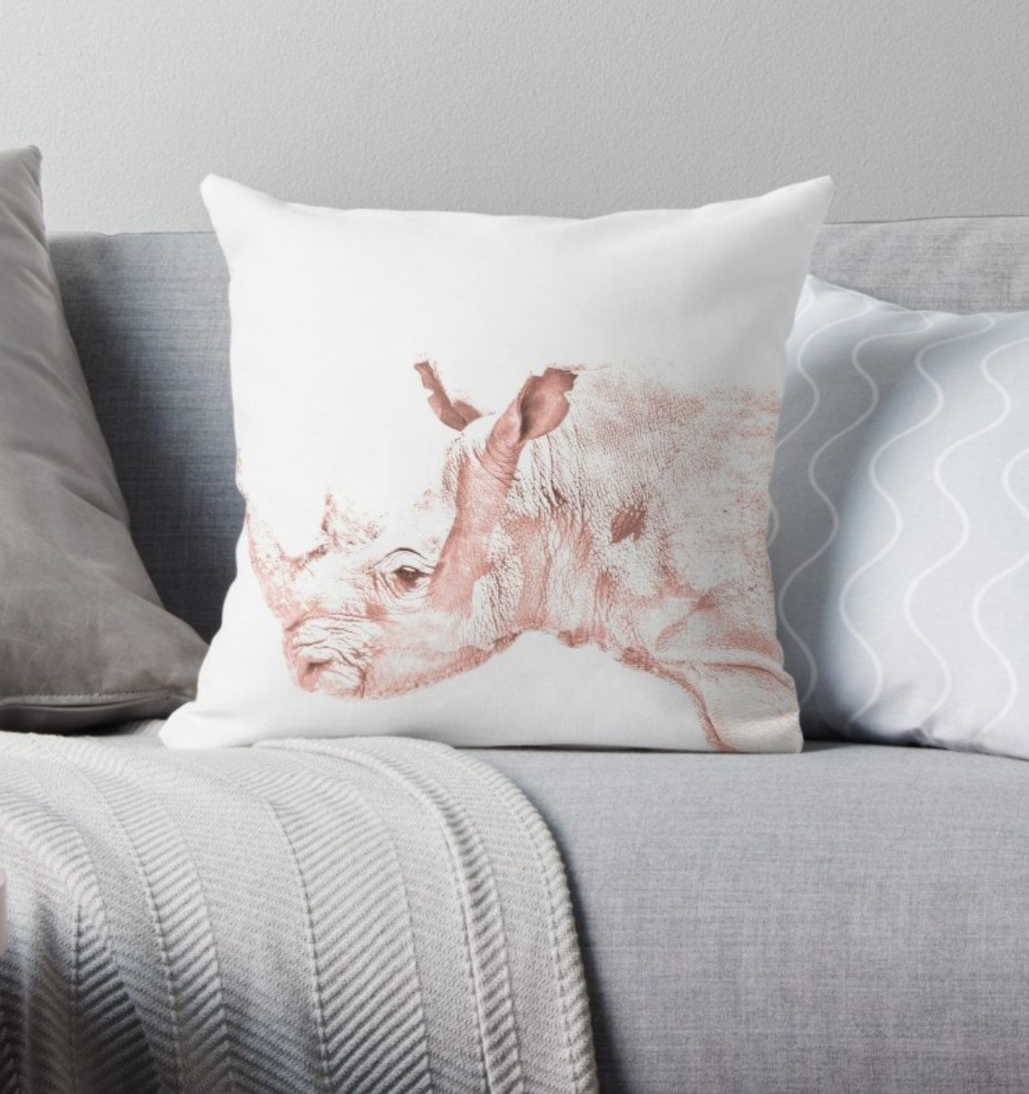 Rhino cushion cover great gift for animal lovers african