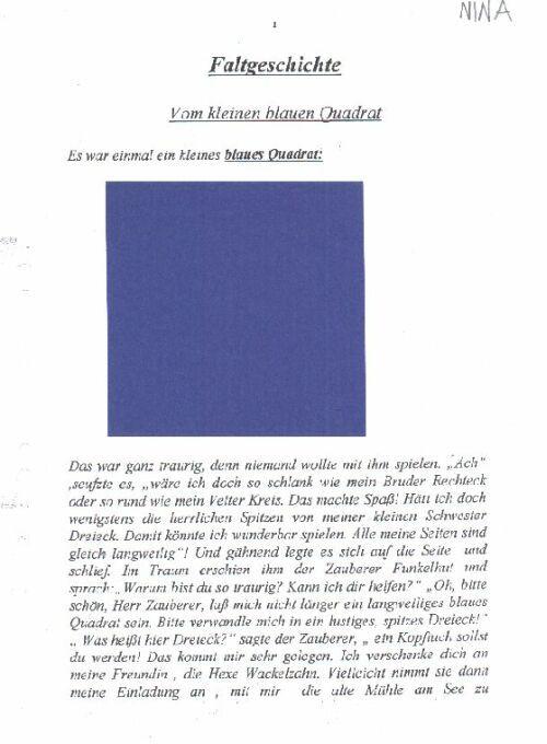 Das kleine Quadrat. Faltgeschichte. Vorlage Text: http://www.matinko ...