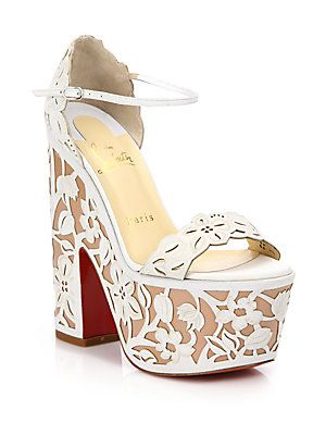 78aeb73c311 Christian Louboutin Houghton Lace-Effect Leather Platform Sandals ...