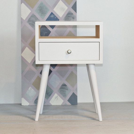 Best Oak White Bedside Table With Drawer Mid Century Modern 640 x 480
