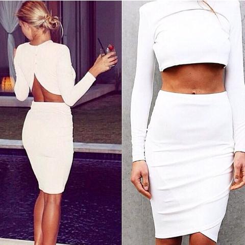 262bc3ef134 White Tuliup Long sleeve Crop Top   Pencil Skirt Set