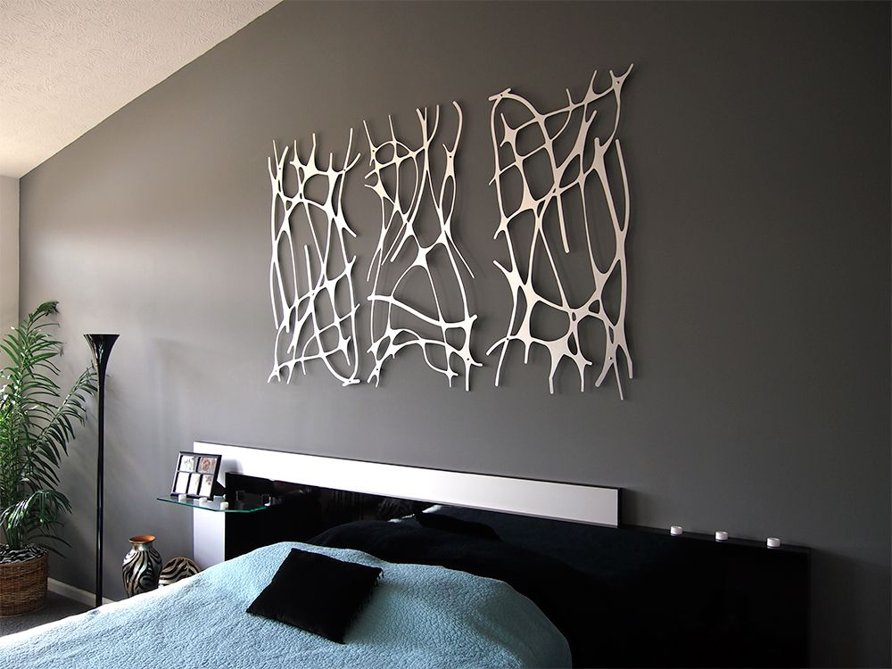 Art Nouveau Web Trio In Brushed Aluminum Wall Sculpture Contemporary Metal Wall Art Aluminum Wall Art Modern Wall Decor