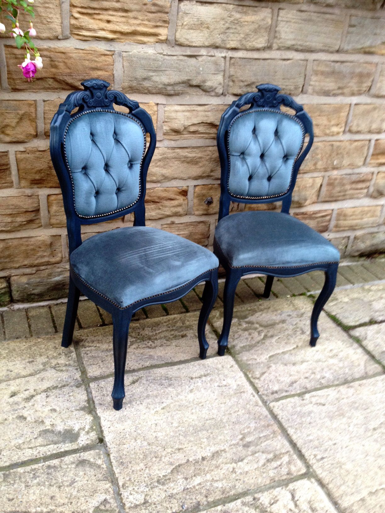 professional furniture paintingCarver chairs handpainted in Annie Sloan Aubusson Blue  Graphite