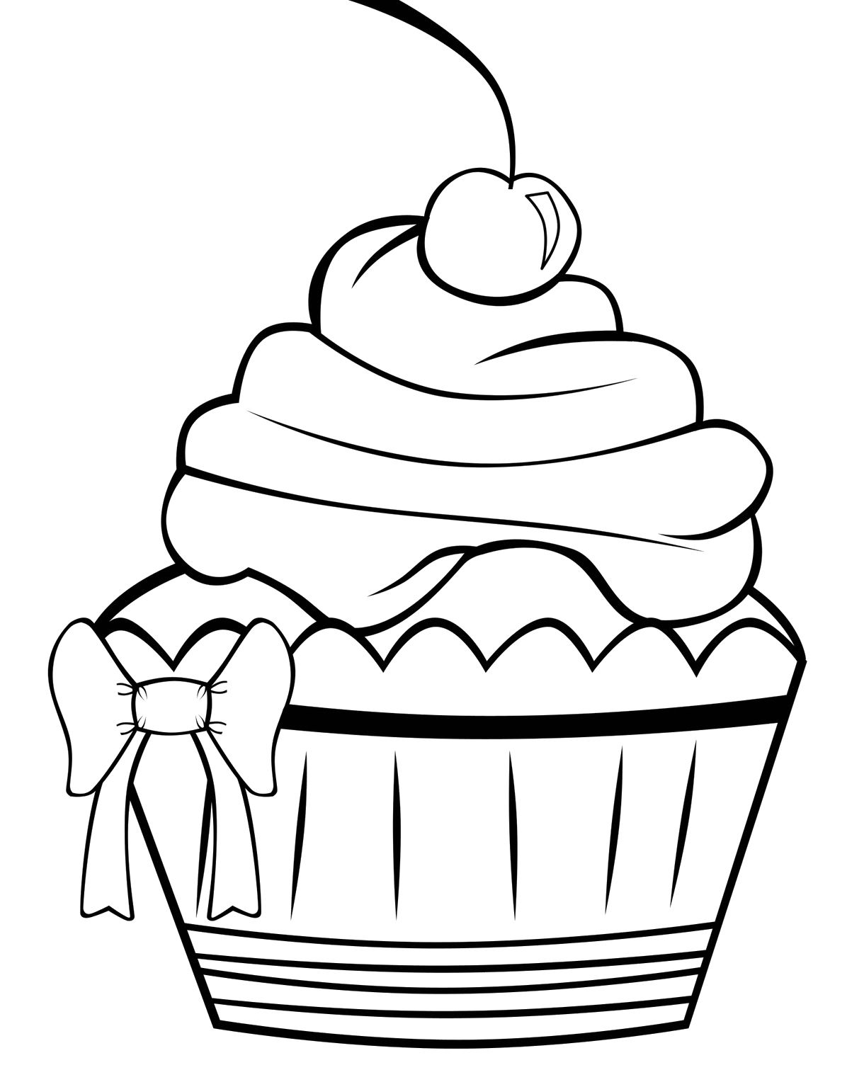 The Cupcake Decorate With Ribbon Coloring Pages