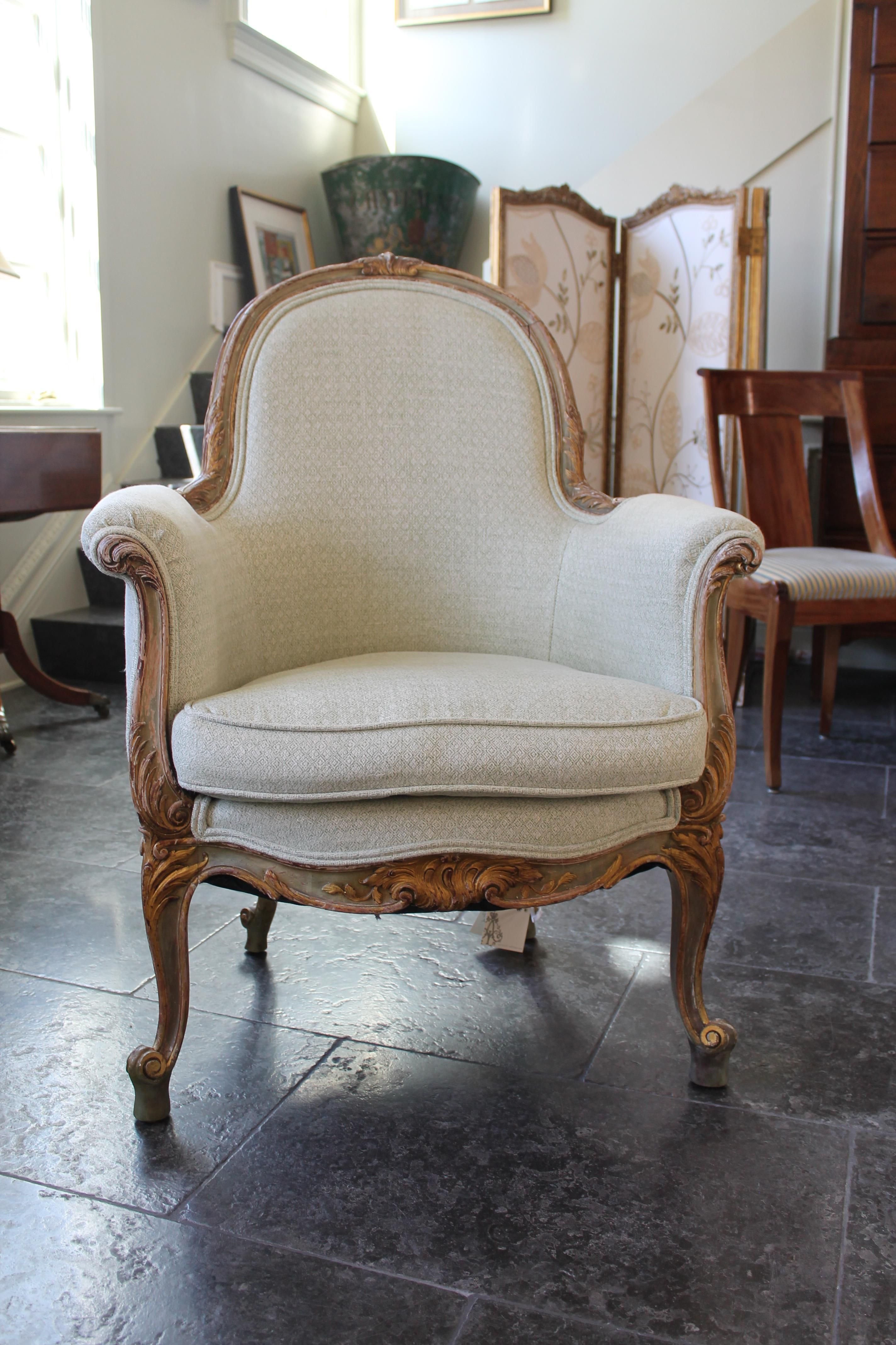 Newly Reupholstered Arm Chair With Curved Arms Legs Double