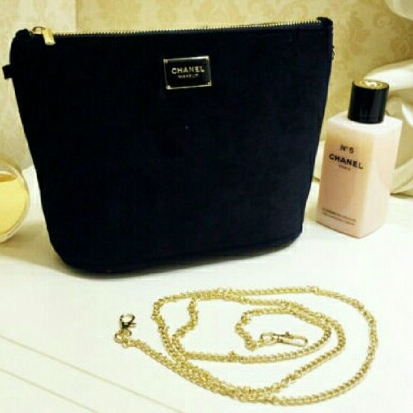 ee22b59179d0 Larger · Gold Chains · AUTH CHANEL VELVET Clutch/Shoulder bag/Makeup case  New AUTHENTIC Chanel black velvet VIP