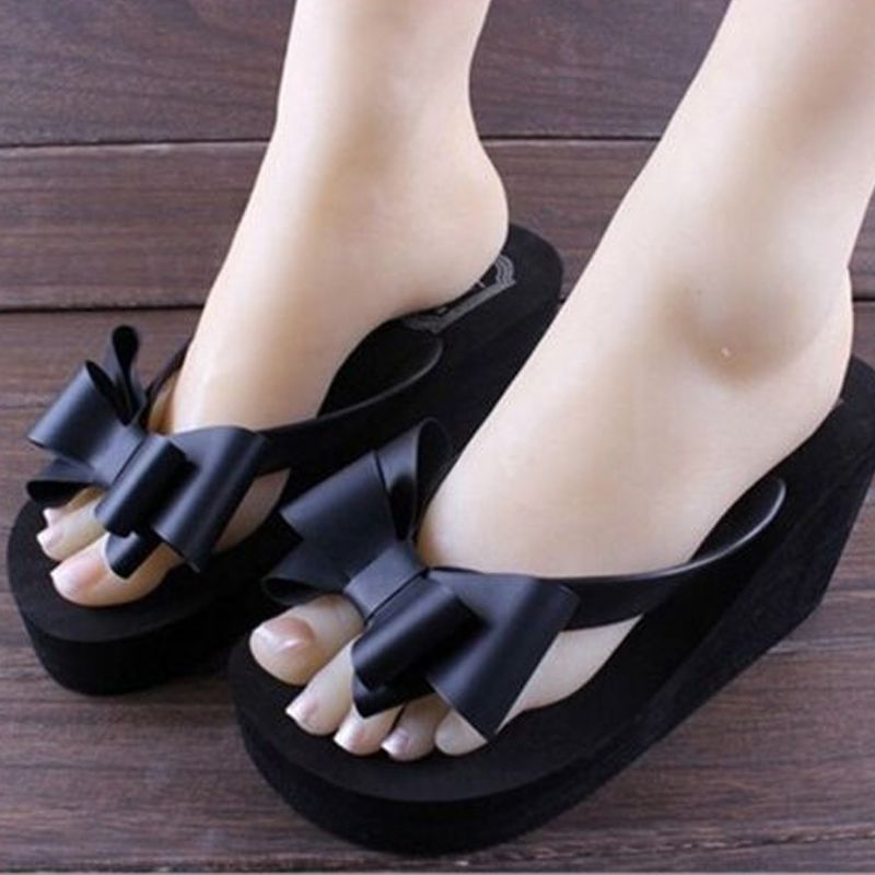 Women Summer Wedge Heel Sandals Crystal Beach Thong Flip Flop Slippers Shoes