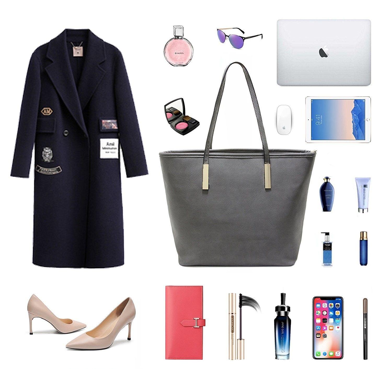 3d1bfa9eb8 Womens Soft PU Leather Top Handle Shoulder Handbag Large Work Tote ...