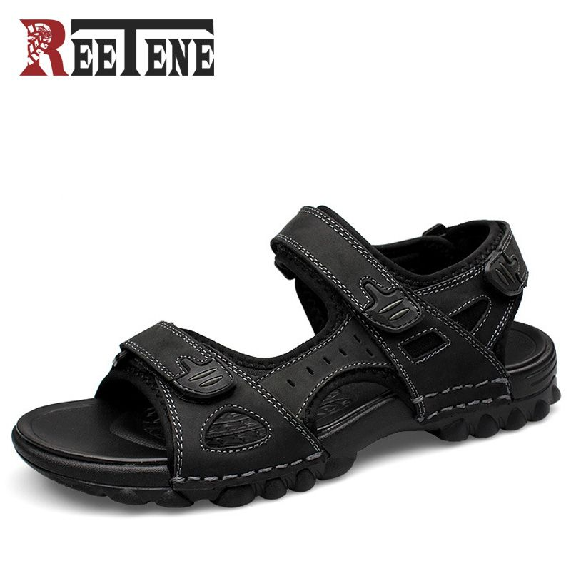 1ad32c67cd8c61 REETENE Full Grain Leather Men Sandals 2017 Fashion Sandals Shoes Casual  Men Summer Shoes Soft Bottom Beach Sandals For Man   Price   55.03   FREE  Shipping ...