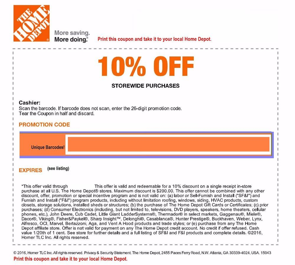 Home Depot 10%-Off-Coupon In Store Only Save Up To $200