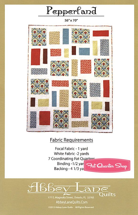 Pepperland Quilt Pattern Abbey Lane Quilts - Fat Quarter Shop-great pattern for focal fabrics