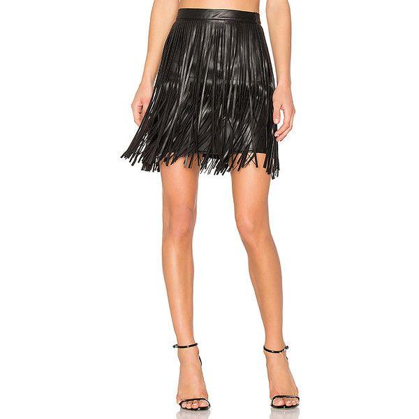 n:PHILANTHROPY Clover Fringe Mini Skirt (1,180 GTQ) ❤ liked on Polyvore featuring skirts, mini skirts, short mini skirts, short fringe skirt, fringe skirt, mini skirt and short skirts