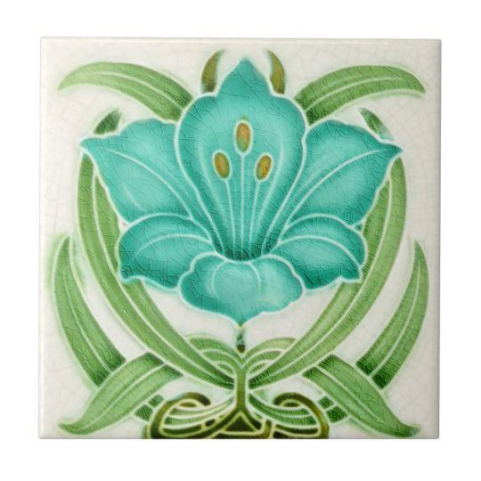 Art Nouveau Vintage Design Backsplash Tile 2 Sizes | Zazzle.com