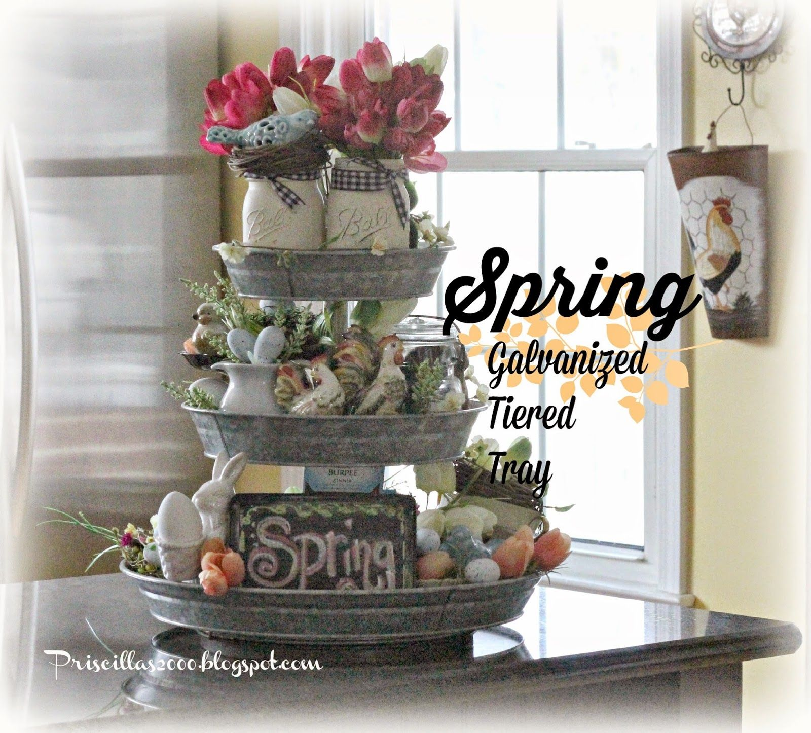 My Love For Tiered Trays Easter Spring Galvanized