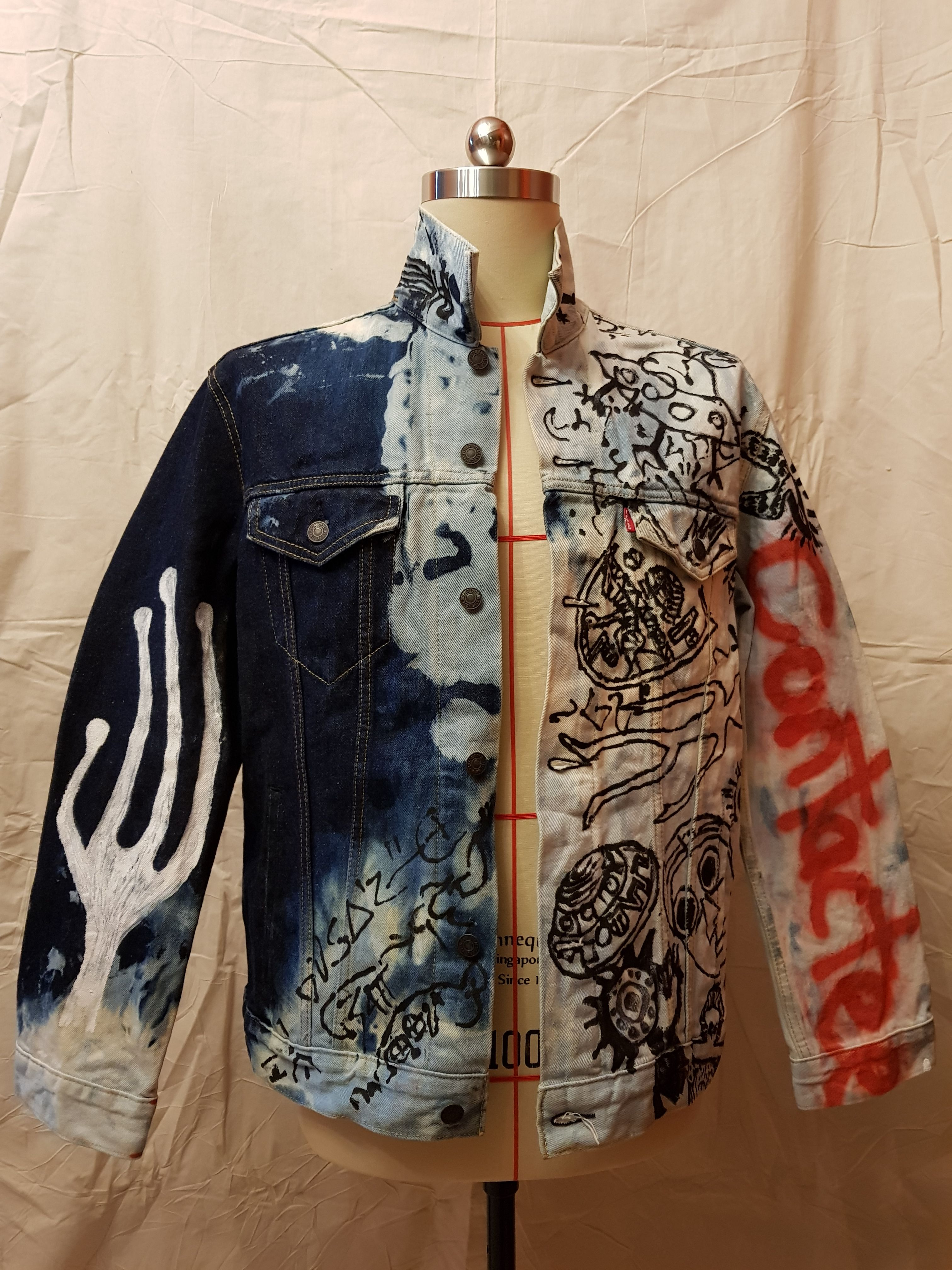 For Sale Ancient Alien Inspired Jacket Cross Bleached Jacket With Spray And Acrylic Paint We Make One Piec Denim Fashion Diy Fashion Clothing Painted Jacket [ 4032 x 3024 Pixel ]