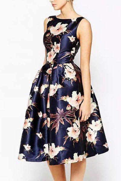 Elegant Sleeveless Jewel Neck Floral A-Line Dress For Women | Moda ...