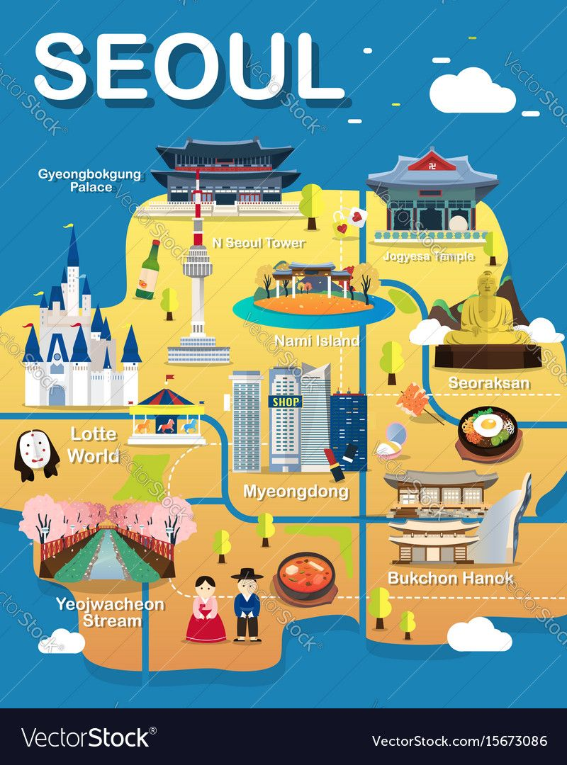 this map is seoul city landmark place map of map of seoul attractions vector and illustration download a free preview or high quality adobe illustrator ai eps pdf and high resolution jpeg versions gumiabroncs Choice Image