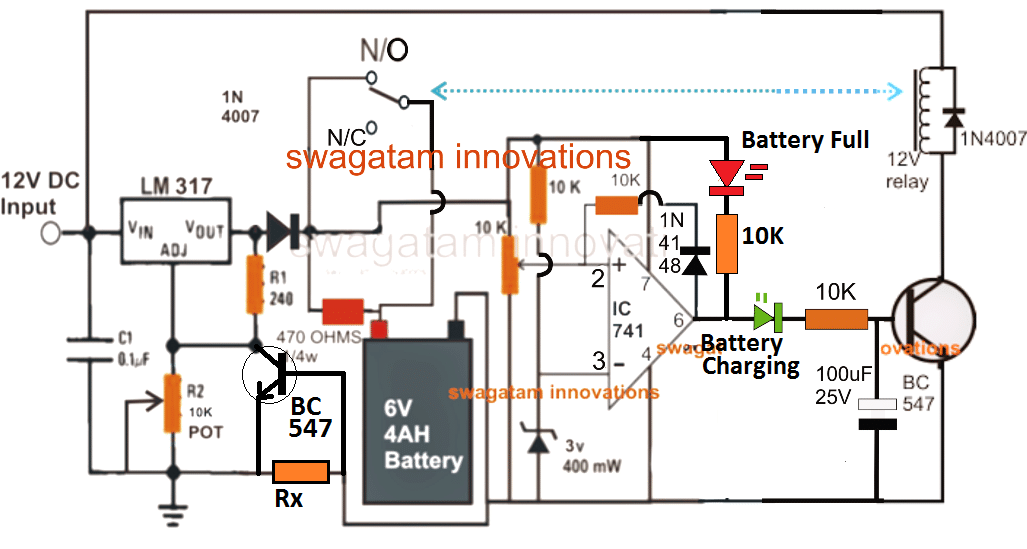 2 best 6v 4ah automatic battery charger circuits using relay and