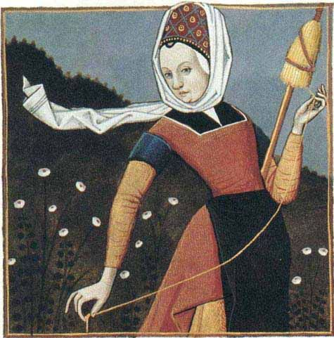 Period Illustrations Of Use Of Distaff And Spindle Ms Fr 599 F