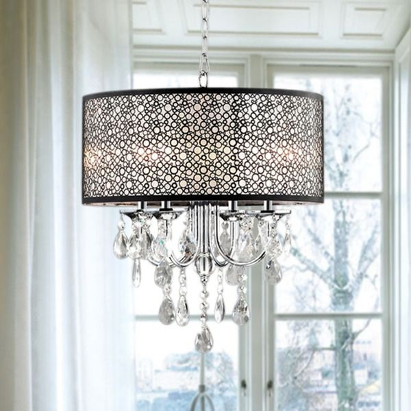 Indoor 4 light chrome crystal metal bubble shade chandelier black indoor 4 light chrome crystal metal bubble shade chandelier overstock shopping mozeypictures Gallery