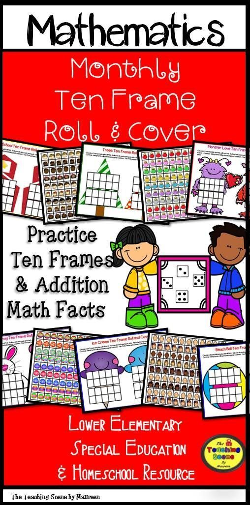 Holiday & Monthly Ten Frames Roll and Cover Math Games: Ten Frame ...