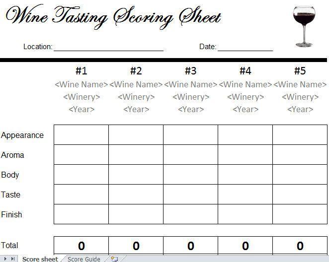 Wine Tasting Scorecard Get In Get Wine Get Social Premium Wines