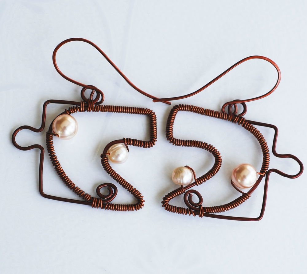 Jigsaw Heart Puzzle Earrings Brown Copper Wire Wrap Pearl Unique ...